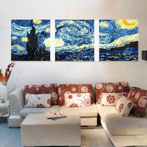 DIY Starry Night Paint By Numbers (3pcs)