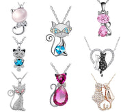 Beautiful Crystal Cat Necklace Jewelry