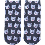 3D Printed Cat Short Socks - My Passion Street