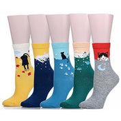 Cute Cat Women's Crew Socks - Set of 5 Pairs - My Passion Street