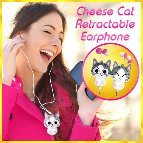 Cheese Cat Retractable Earphone - 50% OFF Today!