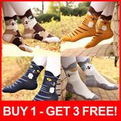Cute Cartoon Cat Striped Socks *BUY 1 - GET 3 FREE!* - My Passion Street