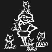 Crazy Cat Lady with 5 Cats Car Decal - My Passion Street
