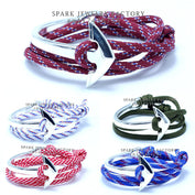 Silver Plated Paracord Survival Anchor Bracelet - My Passion Street