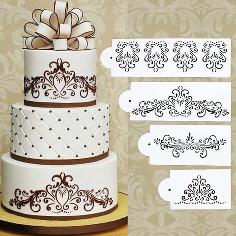 Floral Cake Stencil Set (4Pcs) - 50% OFF Today!
