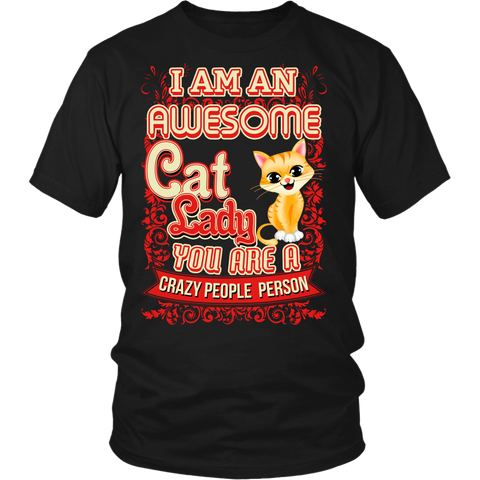 Awesome Cat Lady T-Shirt for Cat Lovers
