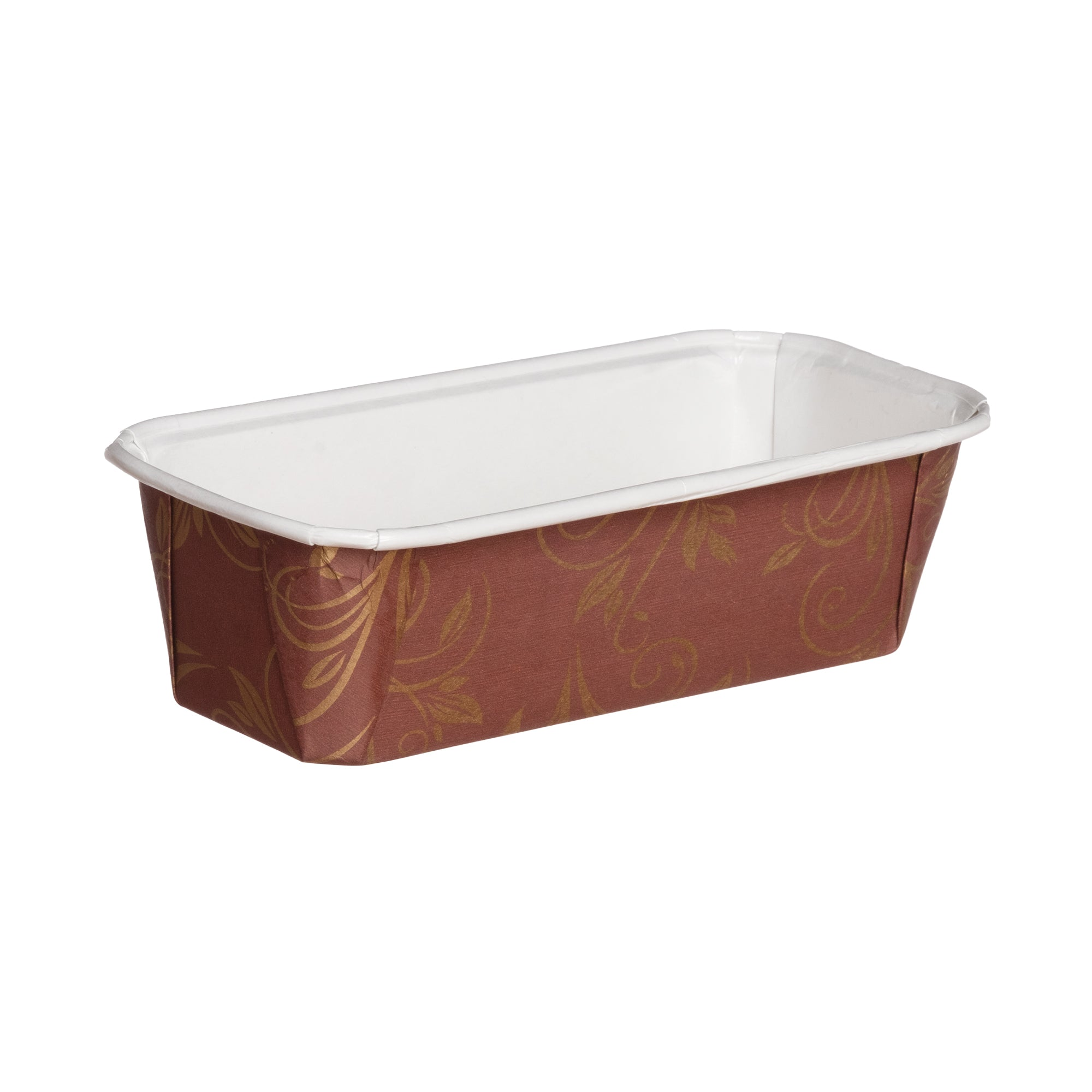 "Loaf Pans, 6.2"" Loaf Pan Set, Brown/White and Gold Leaf - Welcome Home Brands"