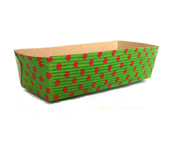 "7"" Rectangular Loaf Baking Pans, Green and red Dot (Set of 25)"