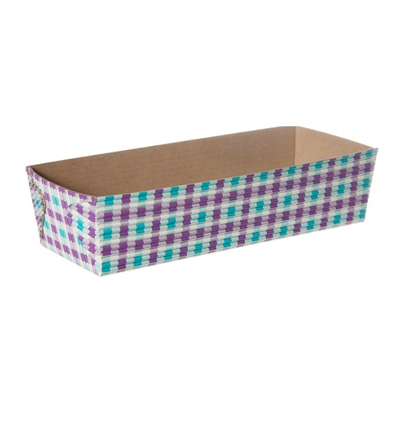 "7"" Loaf Pan Set, Purple and Turquoise Gingham (Set of 50)"