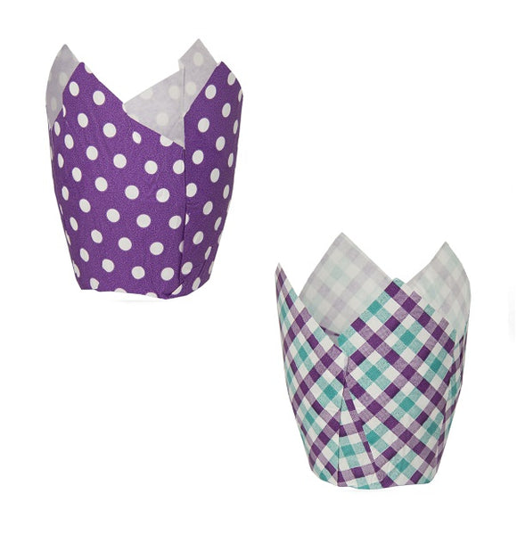 Tulip Cup Assortment Set, Turquoise Purple Gingham and Purple with White Dot