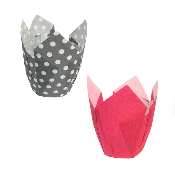 Tulip Cup Assortment Set, Solid Pink and Grey with White Dot