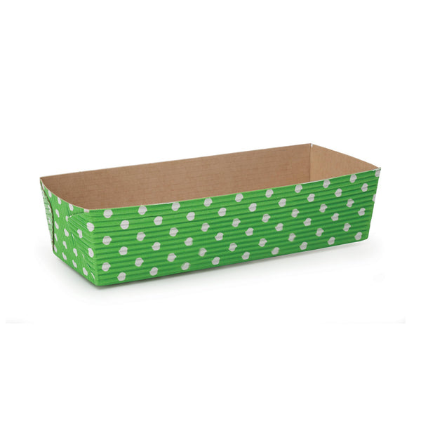 "7"" Loaf Pan Set, Lime Green and White Polka Dot (Set of 50)"