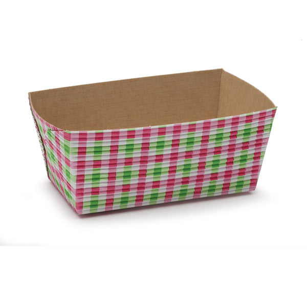 "4.5"" Loaf Pan Set, Pink and Green Gingham (Set of 50)"