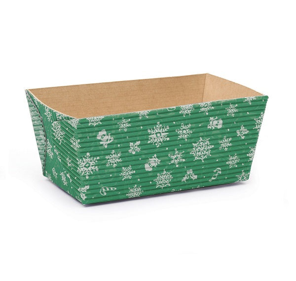 "4.5"" Rectangular Loaf Baking Pans,  Green Snowflake (Set of 25)"