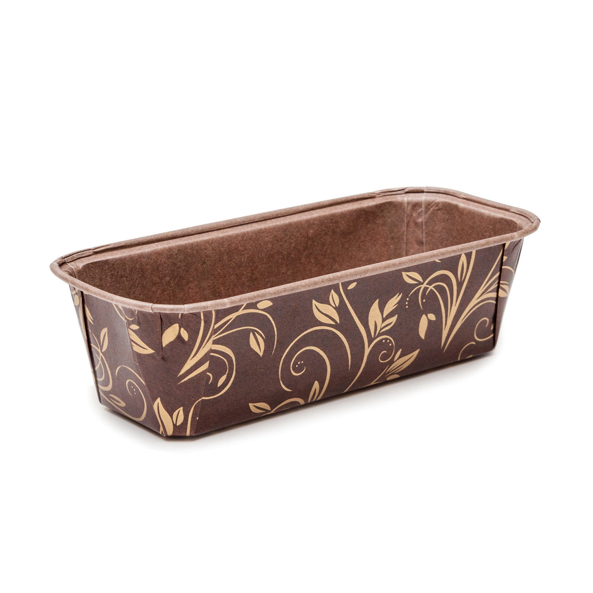 "Single Serve Loaf Pans, 7.8"" Loaf Pan Set, Brown and Gold Leaf - Welcome Home Brands"