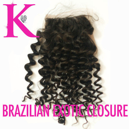 "Brazilian Exotic Deep Curl Closure 18"" (5x5 Transparent LACE)"