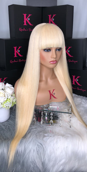 "Platinum Blonde ""BANG"" Straight Full Lace Wig"