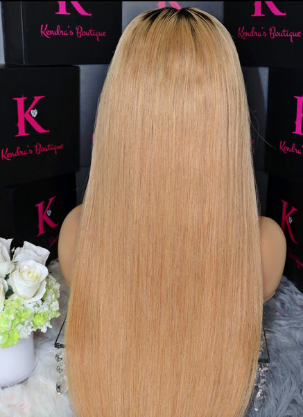 "Ready To Ship ""Honey Blonde #27 With Dark 1B Roots"" Full Lace Wig"