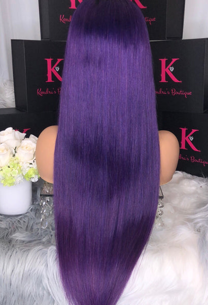"READY TO SHIP ""DEEP GRAPE PURPLE #1B DARK ROOTS"" FULL LACE WIG"