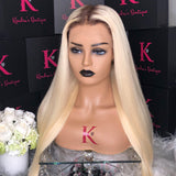 Platinum Blonde Straight Full Lace Wig #4 Brown Dark Roots