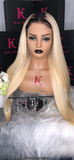 Platinum Blonde Straight Full Lace Wig #1B Dark Roots