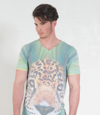 Aves y Animales en Extincion - V-Neck T-Shirt - Jaguar Andino (Green)