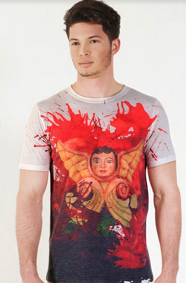 Angeles Chiquitanos - Crew Neck T-Shirt - Red Paint