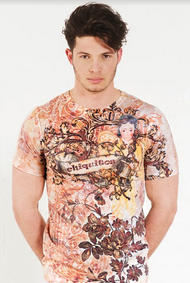 Angeles Chiquitanos - Crew Neck T-Shirt - Brown and Peach