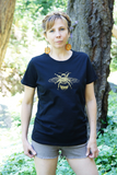 Tee Shirt Women's Honey Bee Nature Screen Print Black Organic Cotton, pollinators, gift for her