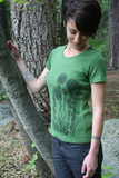 Tee Shirt Women's Fiddlehead Fern Nature Screen Print Green Organic Cotton, gift for her, nature lover, sustainable shirt, green shirt