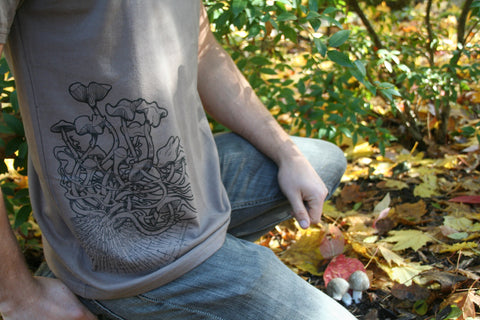 Cubensis Mushroom Organic Cotton Screen Printed Tan Men's T shirt
