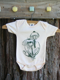 Onesie Lepiota Shaggy Mane Mushroom Nature Screen Print Peach Organic Cotton Creeper, mycology, baby shower