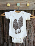 Onesie Morel Nature Screen Print Organic Cotton Creeper, mycology, baby shower