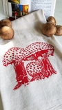 Tea Towel Amanita Mushroom Nature Screen Print Cotton, kitchen, dish towel, mycology, nature