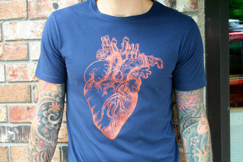 Anatomical Heart Organic Cotton Navy Blue and Copper T shirt
