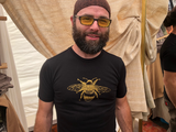 Tee Shirt Men's Golden Bee Screen Print Olive Green or Black Organic Cotton, natural, pollinator
