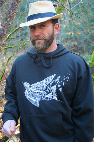 Steampunk Swallow Pullover Pocket Hoodie Men's Black Organic Cotton Screen Printed