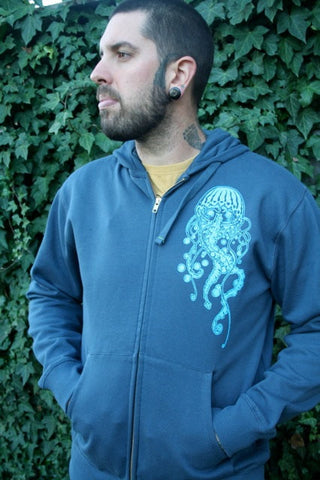 Men's Organic Cotton Jellyfish Zip Hoodie- Blue Screen Printed Original Art
