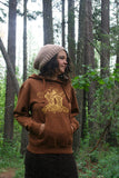 Pullover Pocket Hoodie Chantrelle Mushroom Rust Organic Cotton Screen Printed
