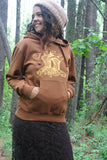 Pullover Pocket Hoodie Chanterelle Mushroom Rust Brown Organic Cotton Screen Printed Unisex