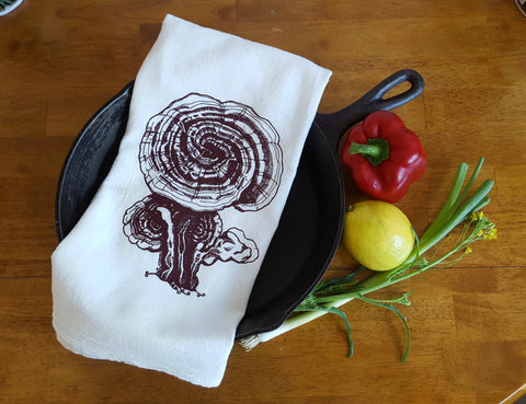 Reishi Mushrooms Cotton Tea Towel Screen Printed White
