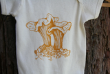 Onesie Chanterelle Mushroom Nature Screen Print Organic Cotton Creeper, mycology, baby shower