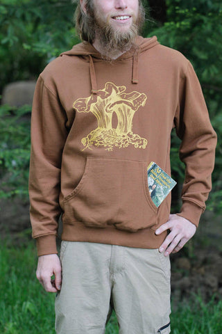 Chantrelle Pullover Pocket Hoodie Mens Rust Organic Cotton Screen Printed
