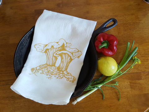 Chanterelle Mushrooms Cotton Tea Towel Screen Printed