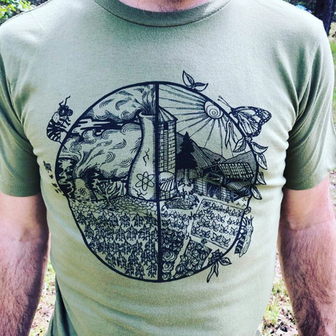 Tee Shirt Men's Buy Local Buy Organic No GMO No Monoculture Screen Print Natural Organic Cotton, local, natural