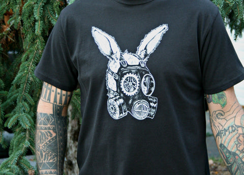 Gas Mask Rabbit Men's Black Organic Cotton Screen Printed T Shirt