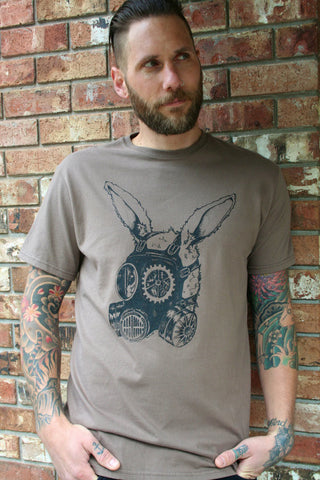 Gas Mask Rabbit Men's Organic Cotton Fatigue Screen Printed T Shirt