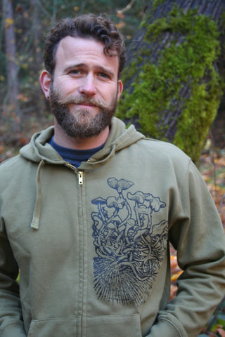 Psilocybe Cubensis Men's Zip Hoodie Green Organic Cotton Original Art Screen Printed