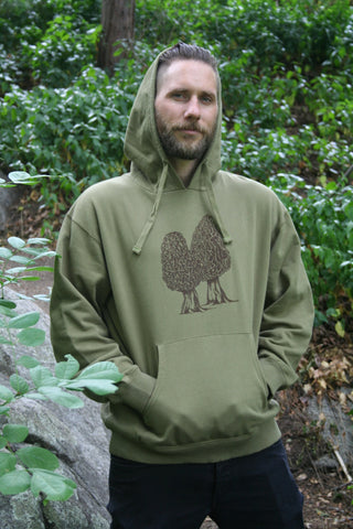 Morel Pullover Pocket Hoodie Mens Moss Green Organic Cotton Screen Printed