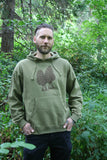 Morel Pullover Pocket Hoodie Men's Moss Green Organic Cotton Screen Printed